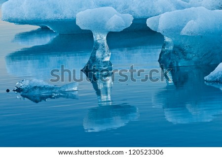 Incredible shape of melting icebergs in glacier lagoon, Iceland - stock photo