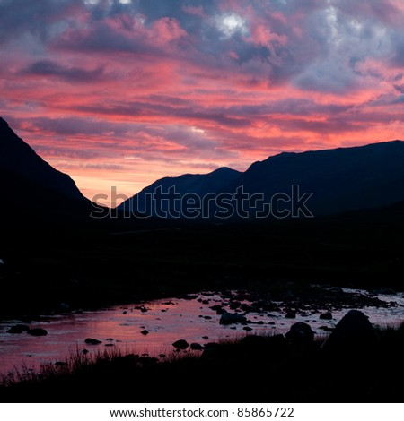 incredible sunset with fantastic colors - stock photo