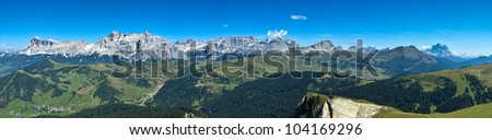 incredible view from the mountain station of the cableway Boe, Dolomites - Italy - stock photo