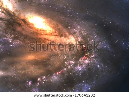 Incredibly beautiful spiral galaxy somewhere in deep space - stock photo