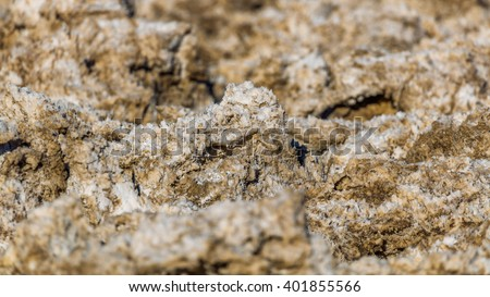Incredibly serrated spires of salt. Salt has created complex structures. Devil's Golf Course, Death Valley National Park - stock photo