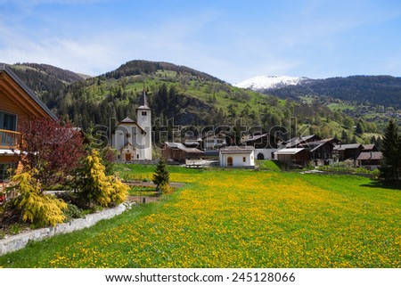 Inden village in sunny  day,   canton of Valais, Switzerland. - stock photo