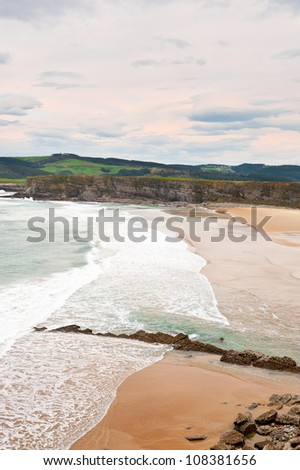 Indented Coastline and Tidal Wave on the Atlantic Coast in Spain