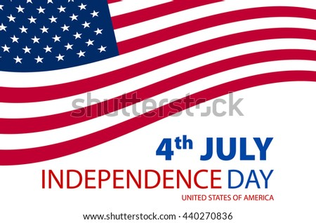 Independence day American signs hanging with chain, illustration art