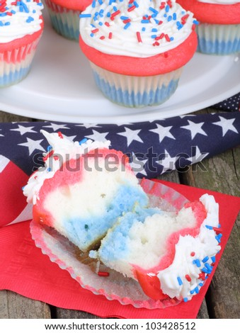 Independence day cupcake with an american flag