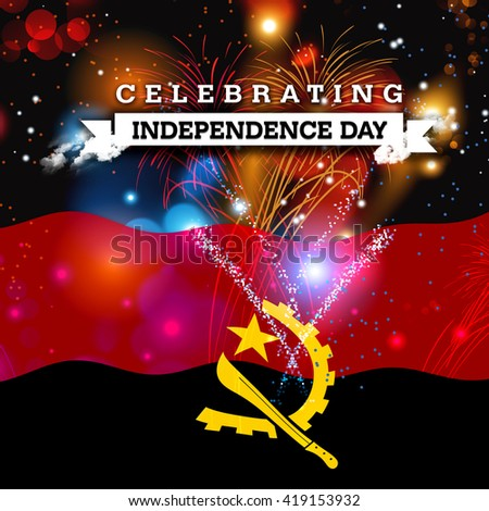 Independence Day fireworks and the Angola flag. concept