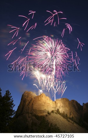 independence day fireworks over mt rushmore - stock photo