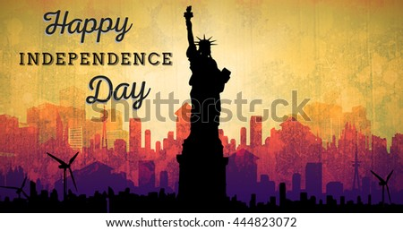 Independence day graphic against artistic cityscape design