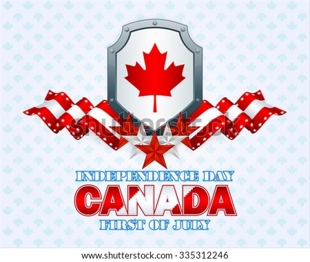 Independence day layout template with riveted metallic shield, and white, red colors on national flag on maple leaves pattern background for First of July, Canadian Independence Day - stock photo