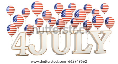 Independence day of US. USA patriotic balloons and inscription 4 July, 3D rendering
