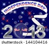 Independence Day. Silver 3-D 2013 with glass ball, flags and banner. Raster version. - stock photo
