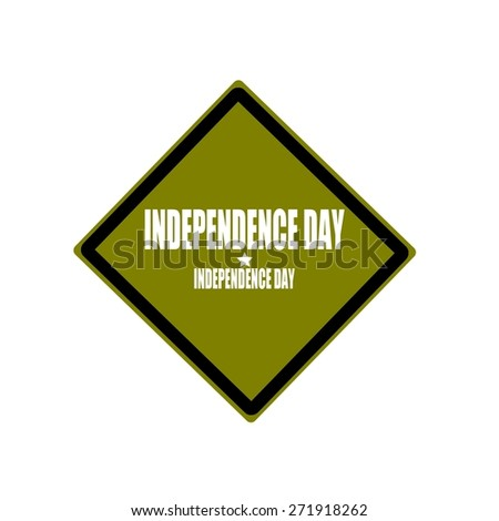 Independence day white stamp text on green background - stock photo