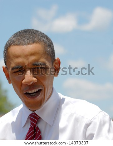 Independence, MO-June 30th, Barack Obama stops at the Truman Memorial building to give a speach in Independence, Missouri. - stock photo
