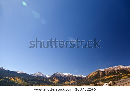 independence pass in fall colorado foliage - stock photo
