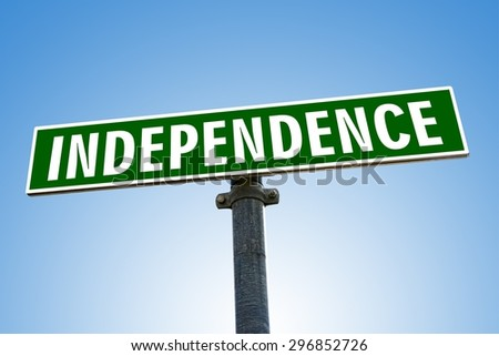 INDEPENDENCE word on green road sign - stock photo