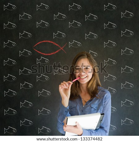 Independent thinking business woman, student or teacher considering Jesus, God or Christianity - stock photo