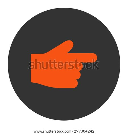 Index Finger icon from Primitive Round Buttons OverColor Set. This round flat button is drawn with orange and gray colors on a white background.