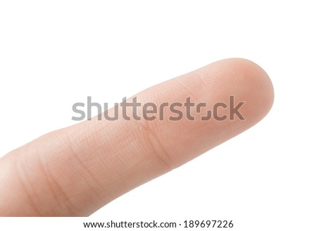 Index finger macro, clean and smooth, isolated on white - stock photo