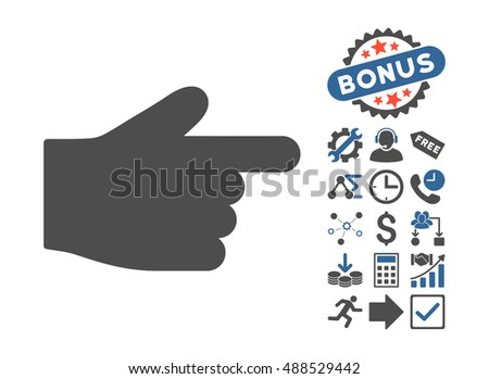Index Finger pictograph with bonus elements. Glyph illustration style is flat iconic bicolor symbols, cobalt and gray colors, white background.