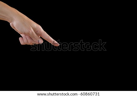 Index Finger Pointing Down from Top-Left Corner, Isolated on Black - stock photo