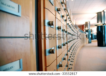 Indexes archive of the European Parliament - stock photo