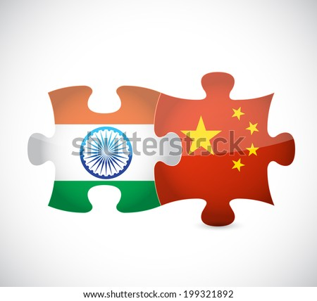 india and china puzzle illustration design over a white background - stock photo
