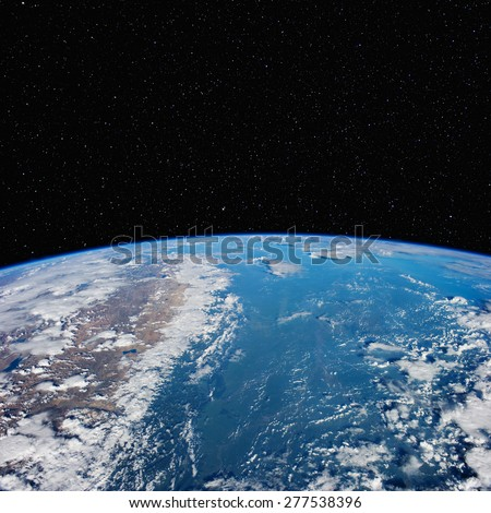 India and Nepal (left) from space with stars above. Elements of this image furnished by NASA.  - stock photo