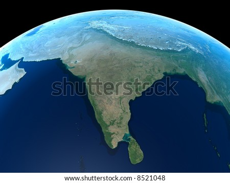 India as seen from Space - stock photo