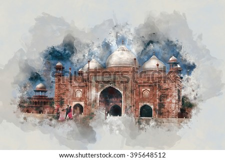 India. Beautiful architecture. Watercolor splatters