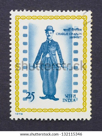 INDIA - CIRCA 1978: a postage stamp printed in India showing an image of Charles Chaplin, circa 1978. - stock photo