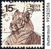 INDIA - CIRCA 1974: A stamp printed in India shows a Bengal tiger, circa 1974. - stock photo