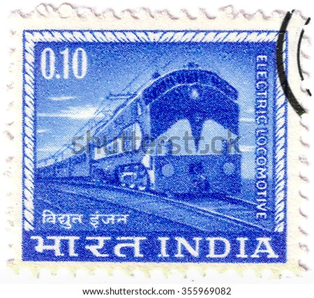 INDIA - CIRCA 1937: A stamp printed in India shows image of a train, series, circa 1937 - stock photo