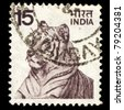 INDIA - CIRCA 1970: A stamp printed in India shows tiger, circa 1970 - stock photo