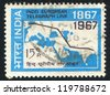 INDIA - CIRCA 1967: stamp printed by India, shows Map Showing Indo-European Telegraph, circa 1967 - stock photo