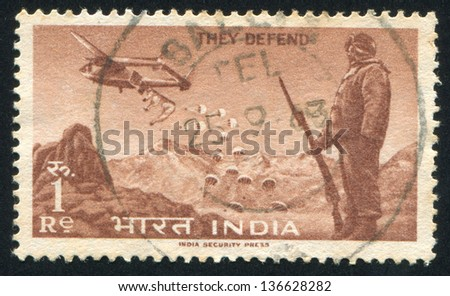 INDIA - CIRCA 1963: stamp printed by India, shows parachutes, Soldier and plane, circa 1963 - stock photo
