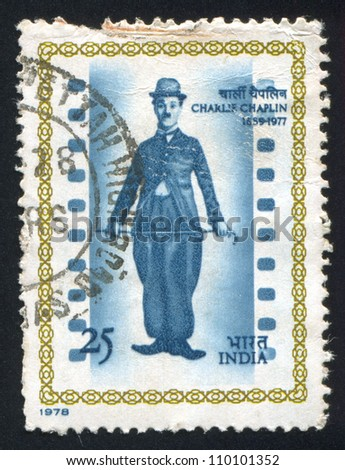 """INDIA - CIRCA 1978: stamp printed by India, shows """"The Little Tramp"""", Charlie Chaplin, circa 1978 - stock photo"""