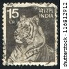 INDIA - CIRCA 1965: stamp printed by India, shows tiger, circa 1965 - stock photo