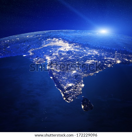 India city lights. Elements of this image furnished by NASA - stock photo
