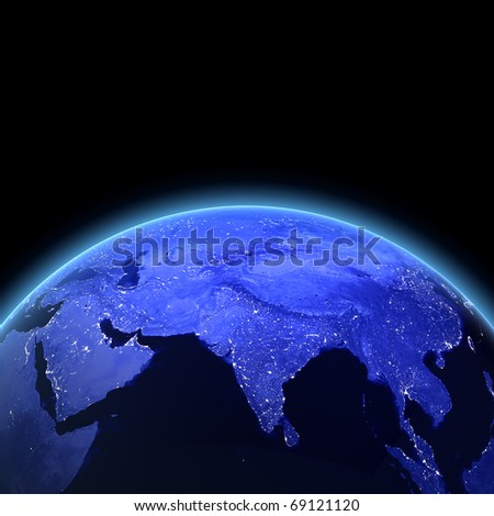 India 3d render. Maps from NASA imagery - stock photo