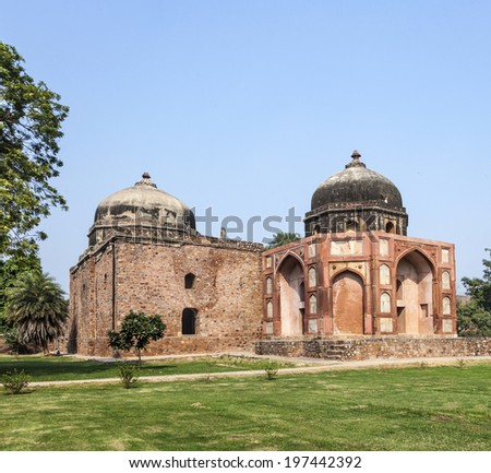 India, Delhi, Humayun's Tomb, built by Hamida Banu Begun in 1565-72 A.D. the earliest example of Persian influence in Indian architecture - stock photo