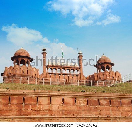 India, Delhi, the Red Fort, it was built by Shahjahan as the Delhi citadel of the 17th Century - stock photo