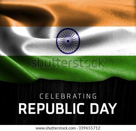 India flag and Celebrating Republic Day Typography on wood background  - stock photo