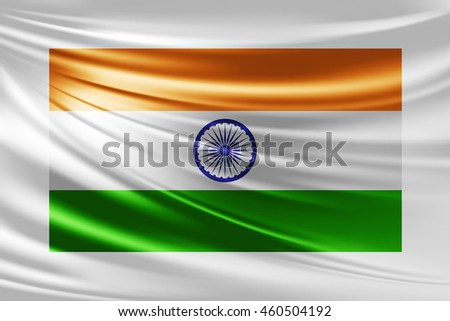 India  flag of silk -3D illustration