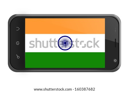 India flag on smartphone screen isolated on white - stock photo