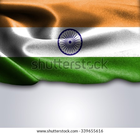 India flag on smooth silk texture Space for Text - stock photo