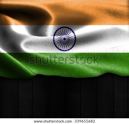 India flag on wood Texture - stock photo