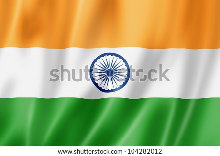 India flag, three dimensional render, satin texture - stock photo