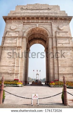 India Gate historical memorial in New Delhi, India - stock photo