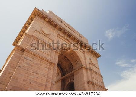 India Gate memorial in New Delhi, India. - stock photo