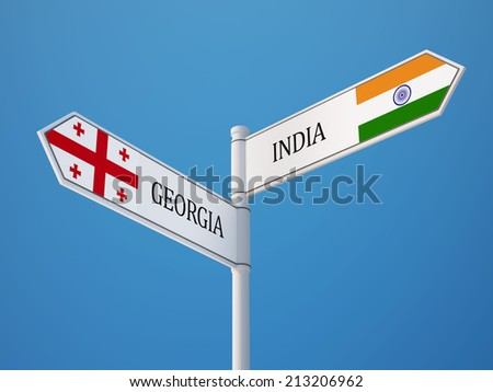 India Georgia High Resolution Sign Flags Concept